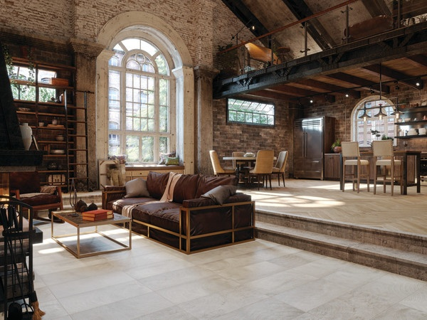 Industrial style open floor plan